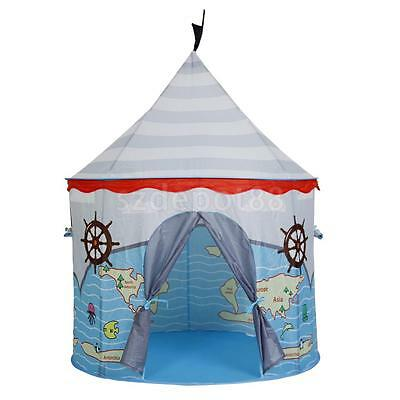Kids Children Pop Up Play Tent Indoor Playhouse - Blue Pirate Castle Printed