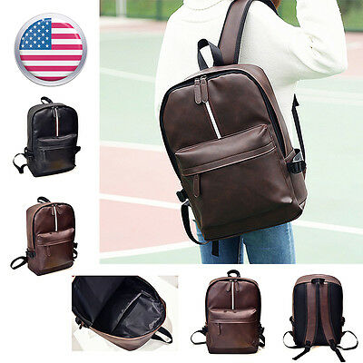 Fashion Men Women Leather Backpack School Bag Travel Rucksack Shoulder Bag B8