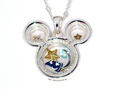 Disney Authentic Necklace✿Floating Memory Mickey Fantasia Sorcerer Hat Wand Star
