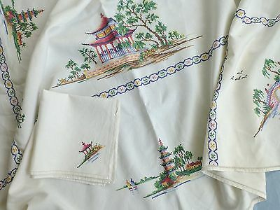 Vtg large linen tablecloth / 12 napkins- hand embroidered -Chinese Pagodas