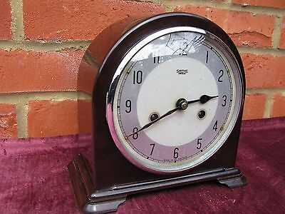 "Bakelite ""smiths Enfield"" Chiming Mantel-Medium Size Vintage Clock Recent Oiled"