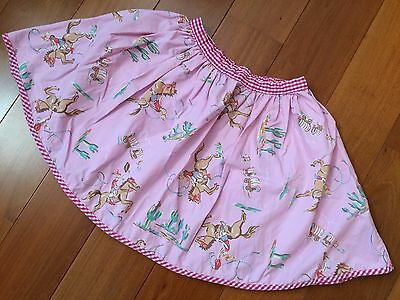 Mini Boden Girl Pink Skirt Cowgirl and Desert Print Size 5-6 Y