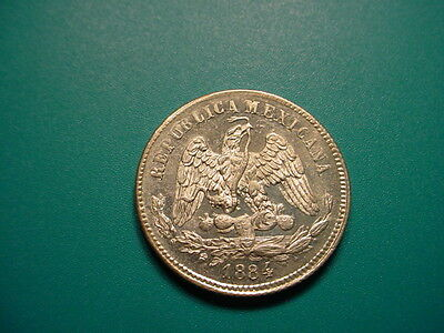 Mexico~Silver 1884 Mo M 25-Centavos in Very Nice Uncirculated Condition!