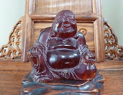 Large Chinese Amber Happy Laugh Maitreya Buddha Hand Carved -Excellent