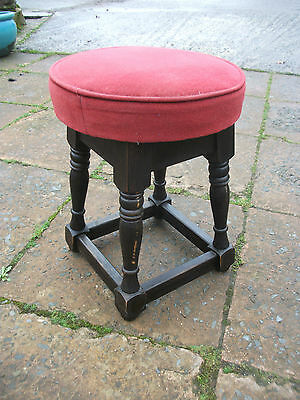 Vintage Retro 60's/70's Red Velvor Top , Stool With Wooden Legs