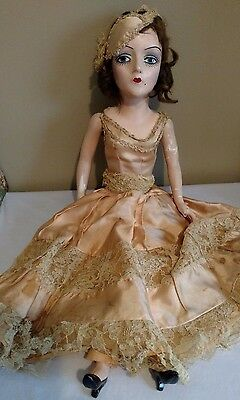 "Antique 27"" Boudoir Doll, Painted Facial Features w/Real eyelashes"