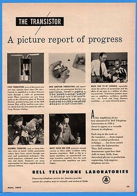 1952 Bell Telephone Labs First Transistors Junction Long Distance Engineering Ad