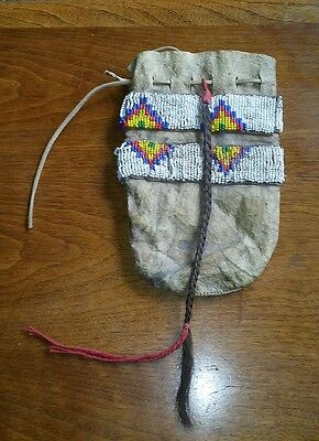 Antique 1800's Beaded Purse Pouch Bag Native American Indian Sioux From Museum