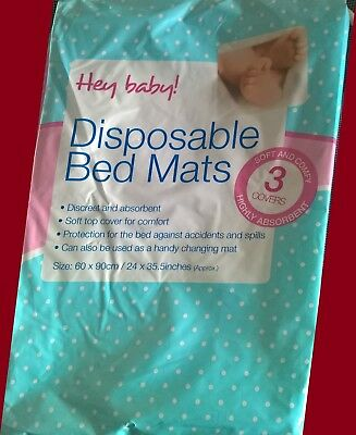10 to 1 Baby Bed Mats 3 Pack - 90 cm X 60 cm Highly Absorbent Disposable