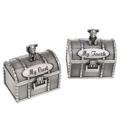 Treasure Chest Alloy My First Tooth Curl Storage Box Organizer Batptism Gift