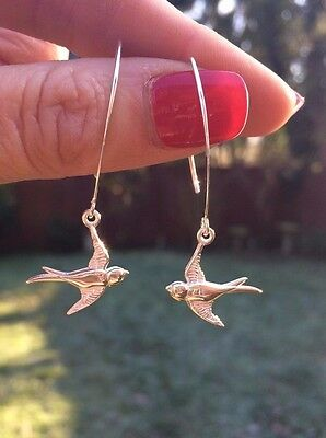 DESIGNER STERLING SILVER BIRD EARRINGS HANDMADE JEWELRY 925 Silver UNIQUE GIFT