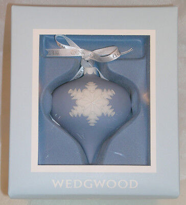 New Wedgwood Blue Jasperware Snowflake Relief Christmas Tree Ornament Great Gift