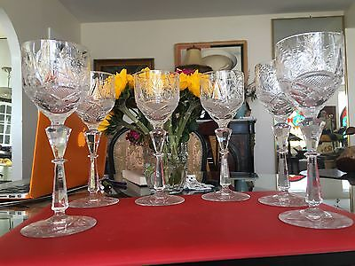 Vintage Collection 6 High-Quality Fine Cut Polished Crystal Wine Goblets Glasses