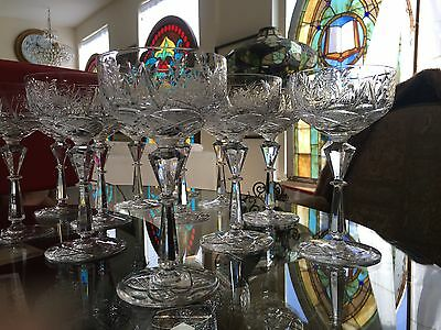 Collection 12 High-Quality Fine Cut Polished Crystal Wine Goblets Glasses