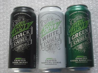 2016 2017 FULL MTN MOUNTAIN DEW BLACK WHITE GREEN LABEL 16 oz CAN - LOT OF 3