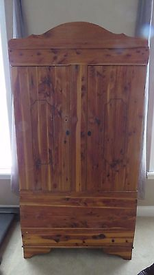 Vintage Cedar Wardrobe Armoire with Double Doors