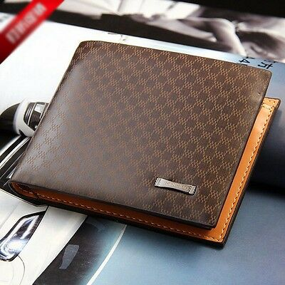 Men's Leather Bifold ID Card Holder Fashion Wallet Billfold Photo Slim Clutch