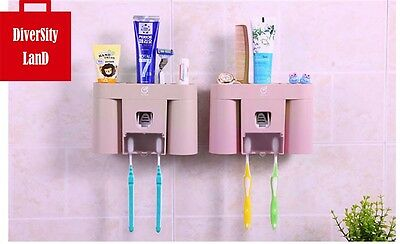 Automatic Toothpaste Dispenser With Five Toothbrush Holder Stand Wall Mount