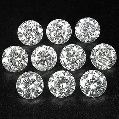 0.50Tc Natural Round Cut Loose White Polished Diamond 10 Stones Of 2.5Mm Each