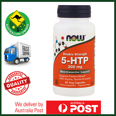 5-HTP 200mg 60 Caps by NOW Foods - MAX POTENCY Sleep, Mood, Appetite - FAST SHIP