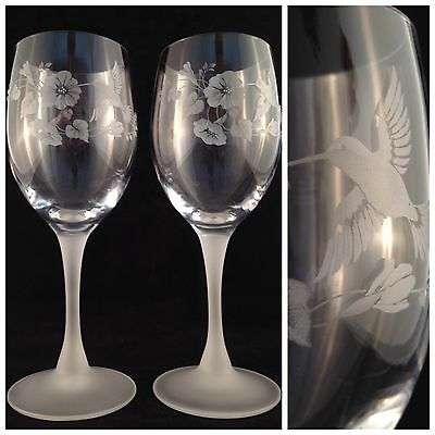 VINTAGE Set Of 2 AVON Tall Stemmed FRENCH CRYSTAL HUMMINGBIRD WINE GLASSES