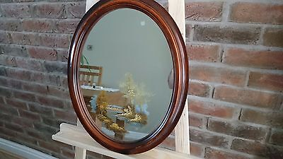 Vintage Oval Oil Painted Mirror - Landscape Scene River Huts Countryside