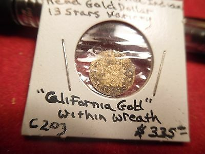 1853 Cali-fornia (within wreath) Fractional Gold Dollar 13 Stars variety #C-203