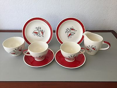2 Wade Cups, Saucers & Side Plates With Sugar Bowl, Milk Jug In 'gayday' Pattern
