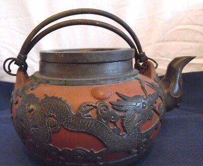Antique Chinese Clay/Terracotta Tea Pot with Pewter Overlay