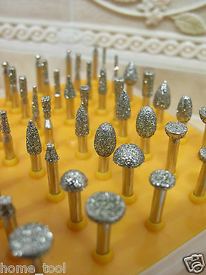 50 x Diamond coated SMALL rotary jewellery grinding burrs mounted point GRIT 40
