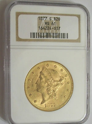 Lot of One NGC, MS61, 1877-S, Gold $20.00 Liberty Double Eagle Coin: Tough Date