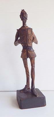Vintage hand-carved wooden figurine of Don Quixote