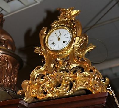 FINE EARLY 1820'S FRENCH BRONZE Fire Guilded ORMOLU MANTEL CLOCK