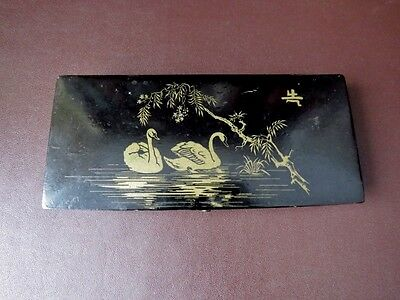 Antique Japanese Black Lacquered Pencil Box  With Swans Decoration