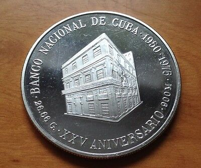 Silver Proof 10 Peso Coin / 25th Anniversary National Bank Of C