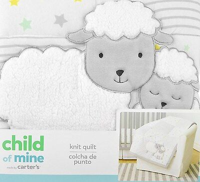 Carter's Child of Mine Unisex Knit Quilt NEW Sheep Comforter Neutral Bedding