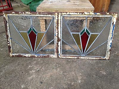 Pair of antique leaded stained glass art deco crittal metal frames