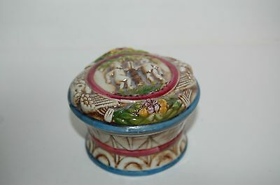Vintage Capo Dimonte Porcelain Lidded TRINKET BOX Cherubs made in Germany