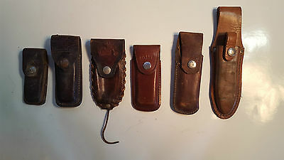 LOT of 6 Vintage Leather Knife Sheaths Folding Fixed SCHRADE, BUCK, COAST