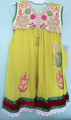 NEW size 18 ages 1-2 toddler Girls pakistani indian 4pc dress frock green