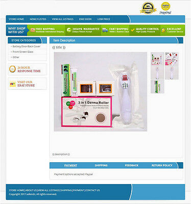 2017 New eBay Listing Mobile Friendly Templates for 3rd Party Custom Templates