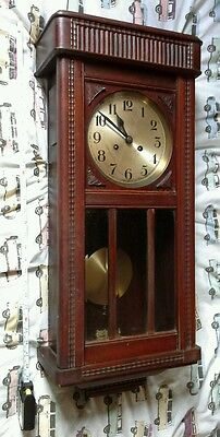 Old Vintage Wall Hanging Clock Chiming Chime Pendulum. Wooden Cased Key Wind Up