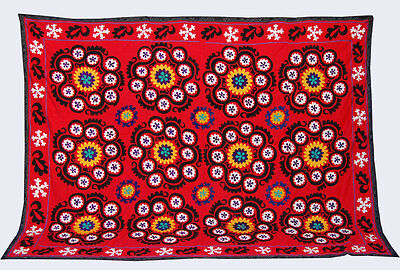 Large Uzbek Hand Embroidered Silk On Cotton Old Suzani Of Baysun Cof-426