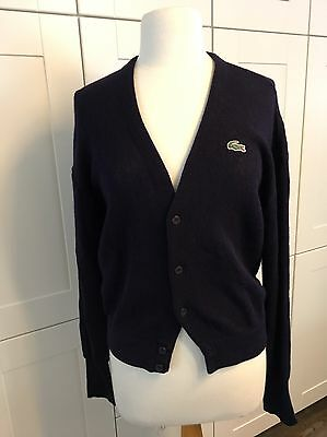 LACOSTE ~ Vintage Navy Blue Wool Cardigan ~ Mens Womens ~ Sm Med