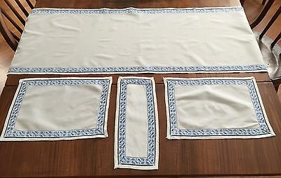 Set of 4 Vintage Delft Blue Dresser Scarfs Table Linen