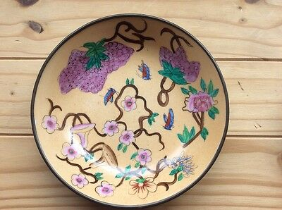 Vintage Chinese Hand Painted Bowl In metal surround