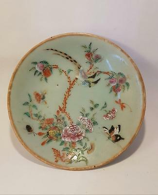 ANTIQUE MID 19th CENTURY CHINESE FAMILLE ROSE CELEDON GLAZE PLATE/DISH