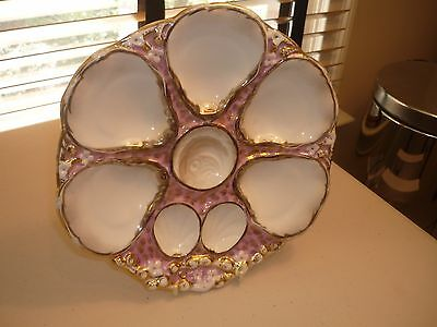 Antique German Porcelain Oyster Plate Purple Gold Marked Ct,c Tielsch Mid 1880's