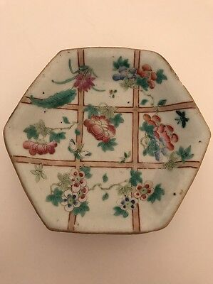 Old Chinese Porcelain Plate With Flowers