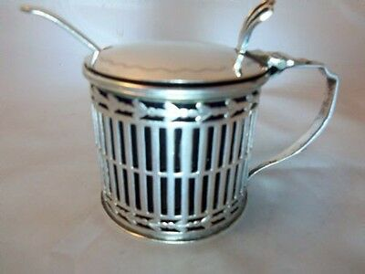 Antique English Sterling Silver Striped Mustard Pot
